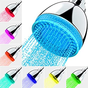 LED Shower Head 7 Color Flash Light Automatically Changing LED Fixed ShowerHead for Bathroom Upgraded Adjustable Luxury Chrome High Pressure Flow Rain ShowerHead for Kids Adult Tool-Free Installation