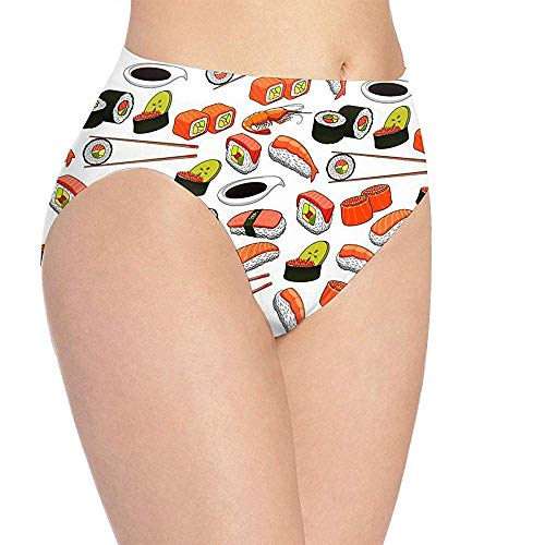 Ondergoed Vrouwen Sushi Print Ondergoed, Meisjes Leuke Hipster Briefs Broek, Maat L