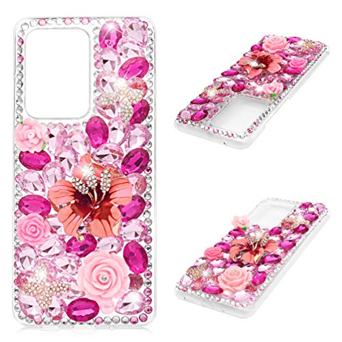Galaxy S20 Ultra Case, Mavis's Diary 3D Handmade Luxury Bling Crystal Pink Peony Rose Floral Colorful Shiny Crystal Diamond Glitter Rhinestone Gems Clear Hard PC Cover