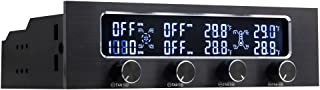 "Kingwin Performance 4 Channel Fan Controller Panel w/ Wide LCD Display, Turn Knob Control, Temperature Monitor, Overheat Alarm, and Fan RPM Display. Fits 5.25"" Bay, and Easy Control of Your PC Fans"