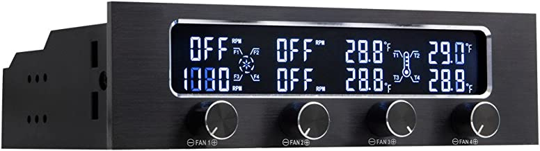 """Kingwin Performance 4 Channel Fan Controller Panel w/ Wide LCD Display, Turn Knob Control, Temperature Monitor, Overheat Alarm, and Fan RPM Display. Fits 5.25"""" Bay, and Easy Control of Your PC Fans"""