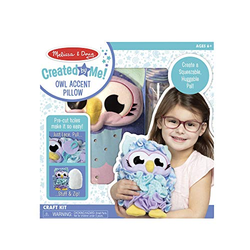Melissa & Doug Created by Me Owl Accent Pillow Lacing Craft Kit (100 Fleece Buttons, 20 Lacing Cords)