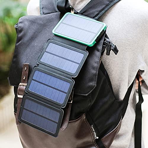 ALLWIN Cargador De Panel Solar Banco De Energía De Carga Rápida, Cargador De Teléfono Solar 20,000Mah Batería Externa con Energía Solar con Luz De Campamento Cargador Portátil