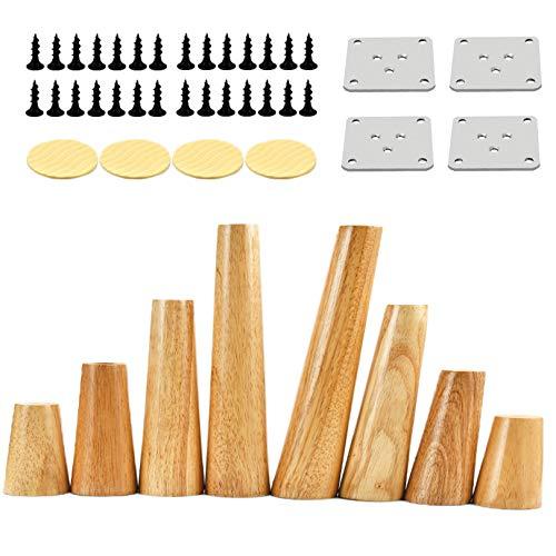Hölzerne Möbelbeine Set Von 4, Massivholz Möbelbeine Mit Gummimatte, Kommode Beine Sofa Ersatzbeine Upright-30cm