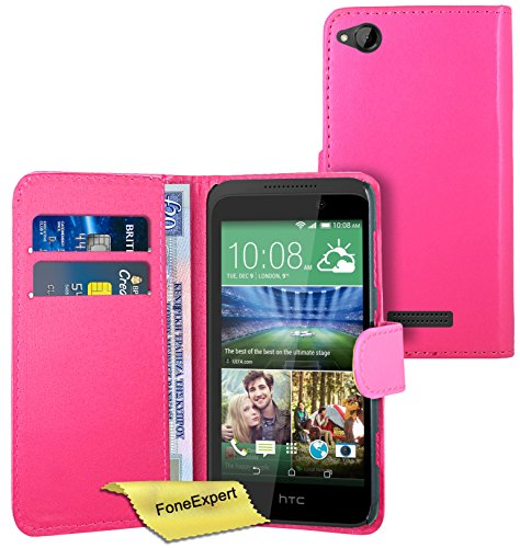 FoneExpert® Wallet Hülle Flip Cover Hüllen Etui Ledertasche Lederhülle Premium Schutzhülle für HTC Desire 320 + Bildschirmschutzfolie (Rosa)