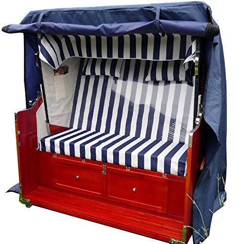 XINRO® Luxus XXL Strandkorbhülle blau für bis zu 118cm breite Strandkörbe Strandkorbhülle Strandkorbhaube Abdeckhaube Abdeckplane