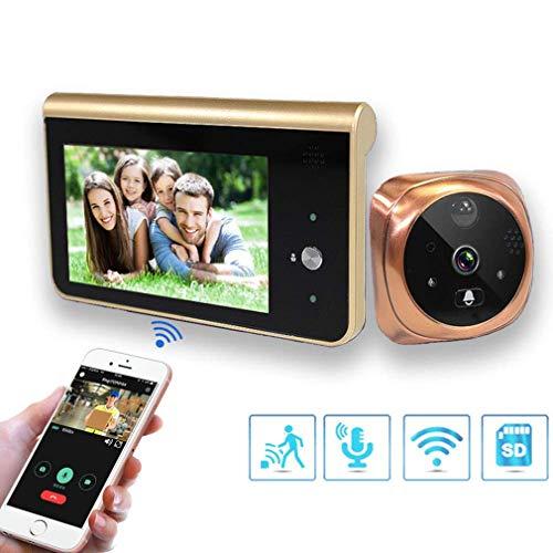 Cámara De Timbre WiFi con Mirilla De Video, Monitor De 4.3 Pulgadas Detector De...