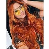 Dunkle Orange Lace Front Perücken, GLAMADOR Orange Cosplay Perücken Für Frauen, Synthetische...