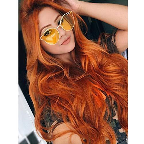Dunkle Orange Lace Front Perücken, GLAMADOR Orange Cosplay Perücken Für Frauen, Synthetische lange Cosplay Perücke Damen, Lange Lockige Perücke, Karneval Perücken mit Perücke Kappe 24 ''