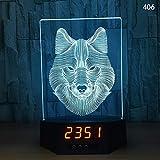 Luz nocturna 3D LED, lámpara de escritorio de acrílico, reloj electrónico, regalo en forma de lobo