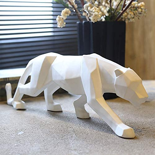 Yuvaansh Creation Modern Abstract White Panther Sculpture Geometric Resin Wildlife Decor Gift Craft Ornament Accessories Furnishing.
