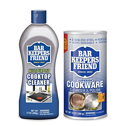 Bar Keepers Friend Cooktop Cleaning Bundle - with Cooktop Cleaner and Cookware Cleanser & Polish