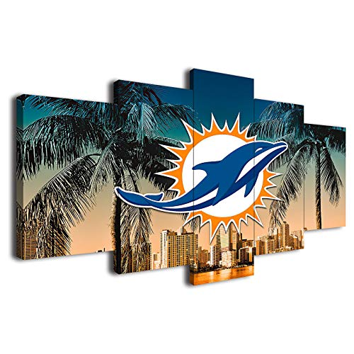Miami Dolphins American Football Poster Canvas Prints Wall Art Decor Living Room Artwork Posters Bedroom Large Wall Art Picture 5 Piece Wall Art (20x30x2pcs+20x45x2pcs+20x60cmx1pcs,Wooden Framed)