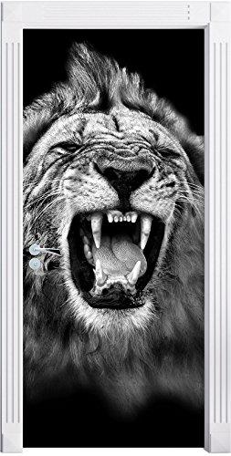 Stil.Zeit Möbel Monocrome, Dark Brüllender Löwe Schwarz/Weiß als Türtapete, Format: 200x90cm, Türbild, Türaufkleber, Tür Deko, Türsticker