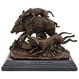 Escultura Perro jabalí Caza de Bronce Figura de Bronce Antiqued Estatua 23cm