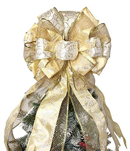 Flash World Christmas Tree Topper,27x12 Inches Large Toppers Bow with Streamer Wired Edge for Christmas Decoration (Gold)