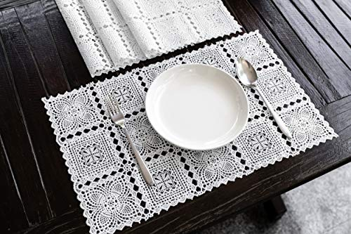 Amornphan 4 Pieces White Rectangle Floral Stencil Lace Classic Style Embossed...