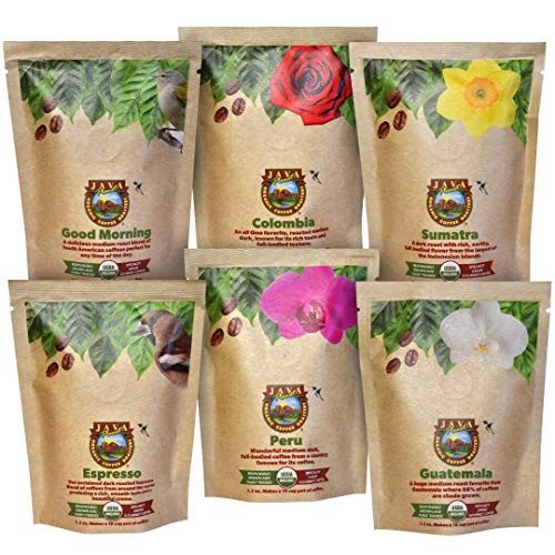Java Planet - Coffee Beans, Organic Coffee Sampler Pack, Whole Bean Variety Pack, Arabica Gourmet Specialty Coffee, 1.32 POUNDS of coffee packaged in six 3.2 oz bags…
