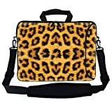Meffort Inc 17 17.3 inch Neoprene Laptop Bag Sleeve with Extra Side Pocket, Soft Carrying Handle & Removable Shoulder Strap for 16' to 17.3' Size Notebook Computer - Leopard Prints