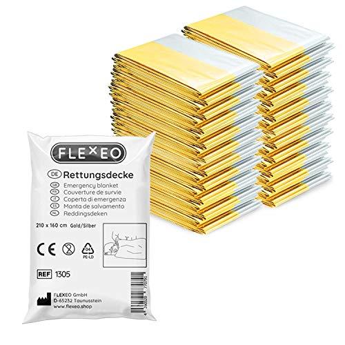 1 | 10 | 20 | 50 Stück | FLEXEO Rettungsdecke gold silber | 210cm x 160cm | Rettungsfolie | Notfall | Erste-Hilfe | Notfalldecke | Goldfolie | Silberfolie (20 Stück)