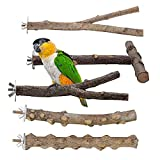 5 palos de madera natural para pájaros, soporte de percha de loro de rama de árbol de madera, columpio de hamaca de jaula de pájaros, accesorios de jaula de pájaros para pájaros pequeños y medianos