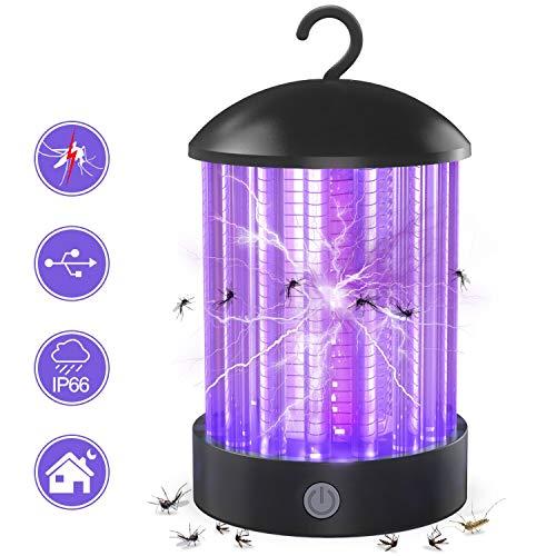 Zenoplige UV Insektenvernichter, 2020 Neuester Elektrischer Mückenvernichter mit IP66 - Wasserfeste Mückenfalle, USB Wiederaufladbar, Tragbare Insektenlampe Gegen Mücken und Moskitos für Innen (B)