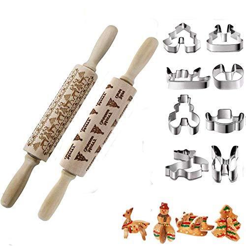 Kitchenmore Rodillos de amasar El de Navidad Moldes de Galletas Hornear Galletas de Galletas de Herramientas de Fondant 35 cm