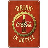 Coca Cola Sign, Drink Coca Cola in Bottles Retro Vintage Bar Metal Signs, Coca Cola Decor, Coke Signs for Garage Décor, 12 X 8 Inch