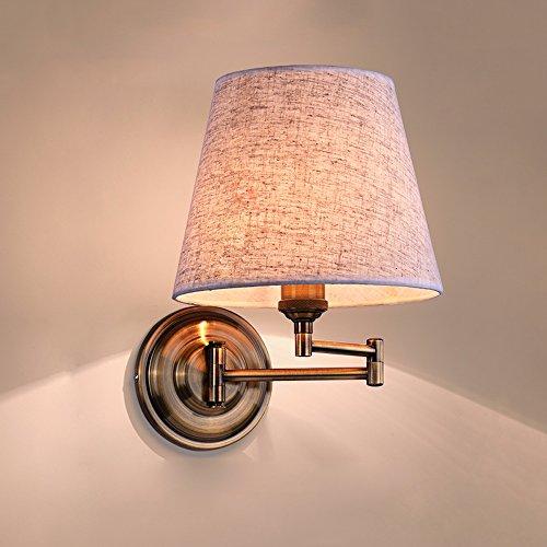 Slaapkamer Armaturen American Verstelbare Bronze Swing Arm linnen lampenkap Wandlamp Nordic Bedside Bedroom Hotel E27 Muur Light Maximale grootte: 42cm W Wandlamp Verlichting