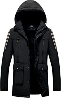 Fubotevic Men Thermal Hoodie Big and Tall Thickened Longline Down Quilted Puffer Jacket Coat Outerwear