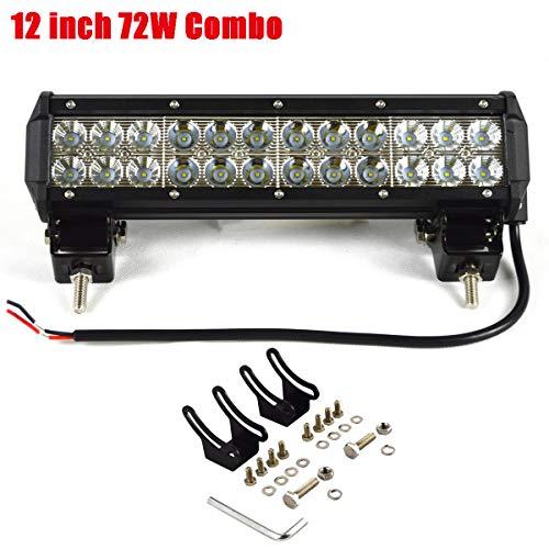 Willpower 12 pulgadas 72 W barra de luz led spot flood beam led luz de trabajo IP67 impermeable luz todoterreno con soportes de montaje para 4WD 4x4 vans SUV ATV tractor barco