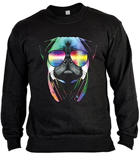 Goodman Design ® Langarm Sweatshirt, Sweater, Pulli, Pullover mit bunten Hundemotiv - DJ Pug, Mops mit Kopfhörer