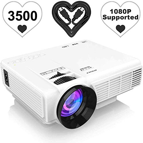 [Latest Upgrade] 3500Lumens Mini Projector, Full HD 1080P 170' Display Supported, PS4,TV Stick, Smartphone, USB, SD Card Supported, Great for Home Theater Movies