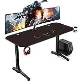 AuAg Mesa para videojuegos de 140 cm, grande escritorio de gaming para PC, mesa ergonómica para juegos, mesa de ordenador con soporte para bebidas y conector para auriculares (140 x 60 cm)