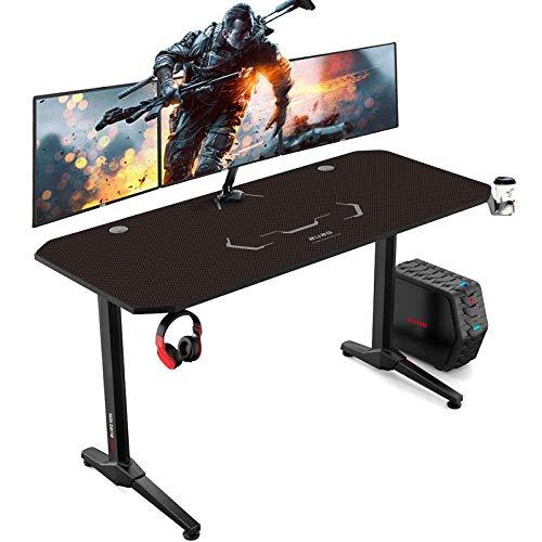 AuAg Gaming Tisch 140 cm, Groß Gaming Schreibtisch for PC Ergonomischer Gamer Tisch, Schwarz Computertisch mit Getränkehalter und Kopfhöreranschluss (140 X 60 cm)