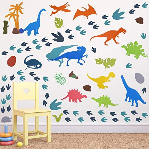 66 Pieces Watercolor Dinosaur Nursery Wall Decals Dinosaur Feet Wall Stickers Removable DIY Dinosaur Peel Wild Dinosaur for Kids Baby Bedroom Living Room Bathroom Office Wall Decors (Classic Style)