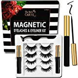 The Belle Cartel Magnetic Eyeliner and Lashes Kit | Magnetic Lashes Kit with Magnetic Liner Set | Magnetic Eyelashes Natural | Reusable Magnetic Lashes | Cruelty-Free Lashes (Day to Evening - 4 Pairs)
