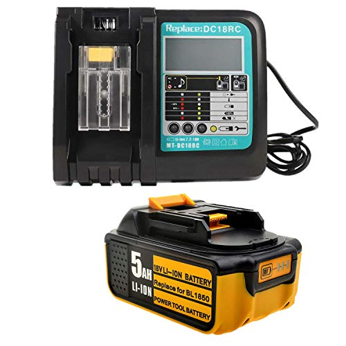 18V 5.0Ah Ersatz Akku mit SchnellLadegerät für Makita Baustellenradio DMR100 DMR108 DMR107 DMR106 DMR106B DMR102 DMR104 DMR110 DMR101 DMR103B BMR102 BMR100 BMR104 18 Volt Radio akku