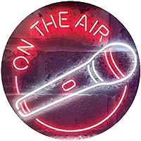 On The Air Microphone Dual Color LED看板 ネオンプレート サイン 標識 白色 + 赤色 300 x 210mm st6s32-i3576-wr