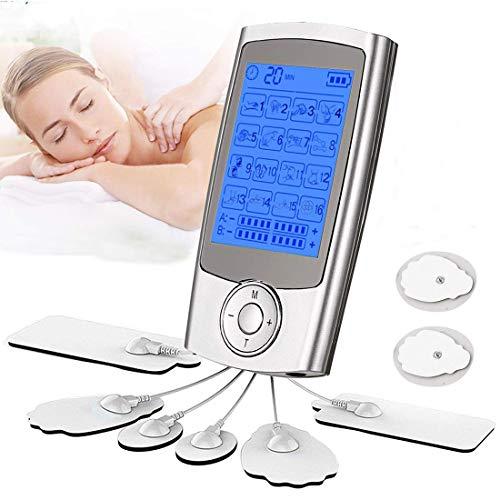 YOMYM Electroestimuladores TENS Digital Masaje EMS, Corrientes Tens Reduce Alivio del Dolor y Relajación Muscular, Pantalla LCD, 16 Modos, 2 Canales, 8 Electrodos, Ideal para Tratar el estrés