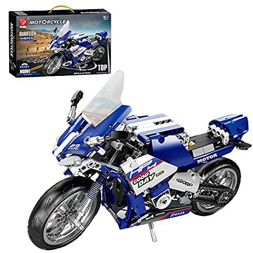 Bulokeliner Technik Bausteine Motorrad Modell, 446 Klemmbausteine Supermotorrad für BMW HP4, Mechanical Rennwagen Motorrad Kompatibel mit Lego Technic