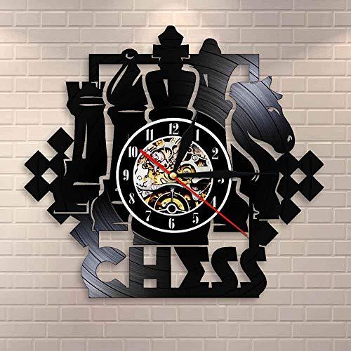 JAXU CWN 'ART Juego de ajedrez Reloj de Pared artístico Tablero de ajedrez Piezas Negras Jugador de Estrategia Club de ajedrez Reloj de Registro de Vinilo Maestro Regalo de los Amantes del ajedrez