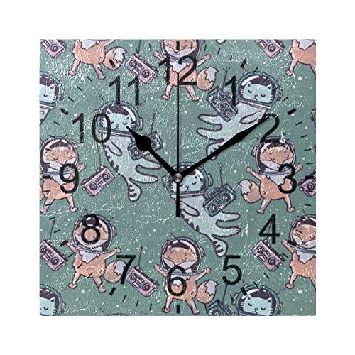 XiangHeFu Reloj de Pared Cuadrado 8x8 Pulgadas-Animal Space Cat Fox-Home Office School Non-Ticking Decorativo
