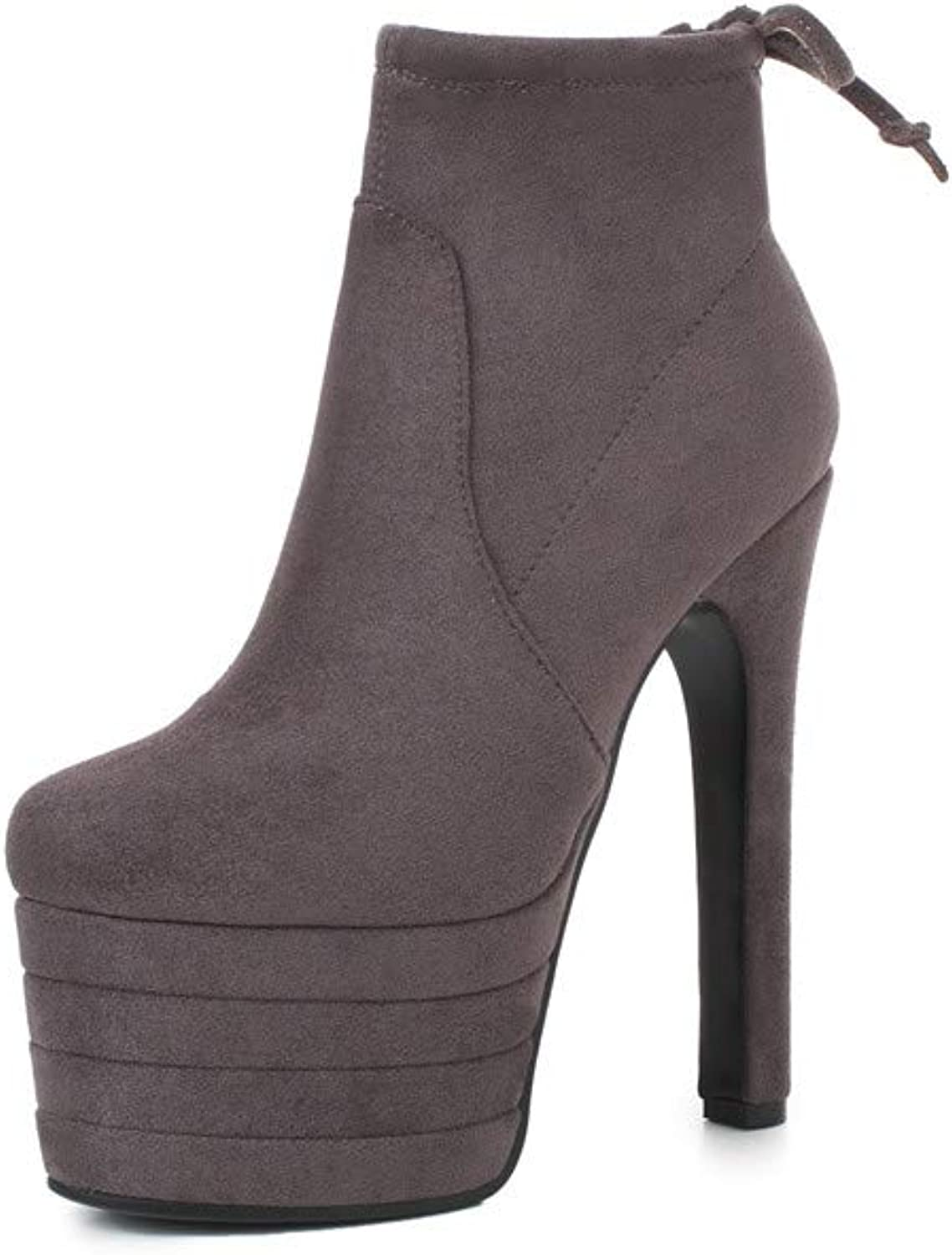 Nine Seven Women's Suede Leather Round Toe Sexy Stiletto Heel Handmade Glossy and Comfortable Platform Ankle Boots