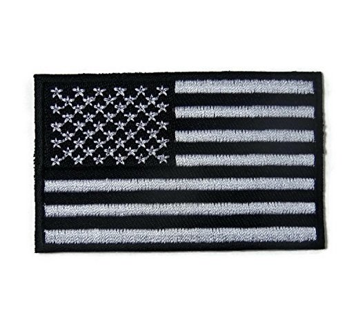 American Flag,Black White,USA Biker shoulder 3x2 in. embroidered iron on patch motocycle patches