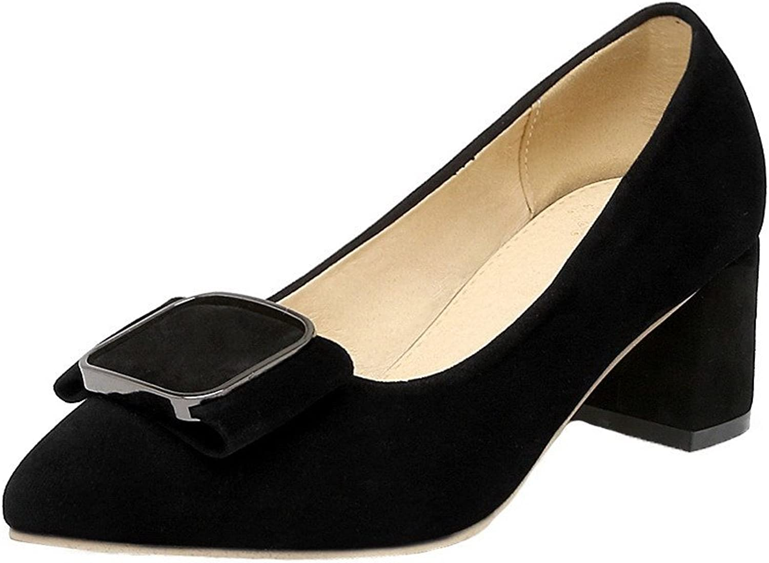 WeiPoot Women's Kitten-Heels Frosted Solid Pointed Closed Toe Pumps-shoes, Black, 37