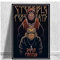 ヒップホップモンキーブラザーポスターとプリント面白い漫画動物のキャンバスの絵画壁にアート写真リビングルームの装飾用-60x90cmx1フレームなし