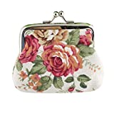 Bokeley Clearance ! Cute Floral Buckle Coin Purses Vintage Pouch Kiss-Lock Change Purse Wallets (White)