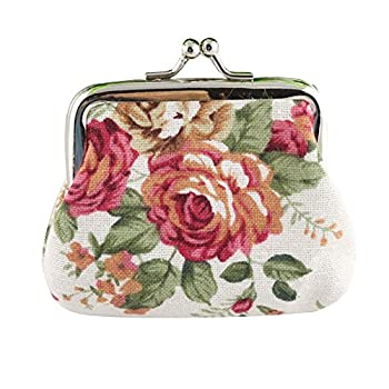 Bokeley Clearance ! Cute Floral Buckle Coin Purses Vintage Pouch Kiss-Lock Change Purse Wallets  White