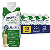 Ensure 100% Plant-Based Vegan Protein Nutrition Shakes with 20g Fava Bean and Pea Protein, Vanilla, 11 fl oz, 12 Count